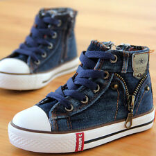 Children Kids High Top Dark Blue Canvas Shoes Casual Boy Girl Sneakers ShoesUS4