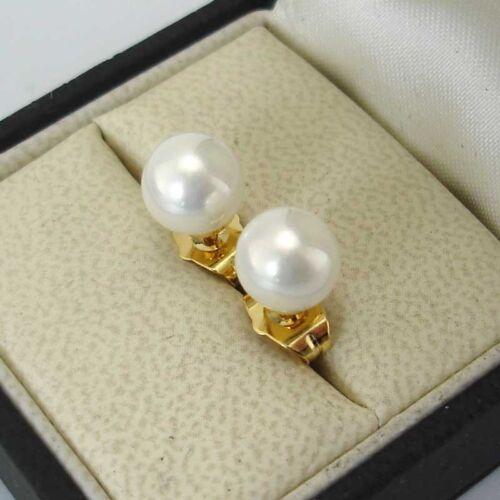 24k or jaune rempli Boucles d/'oreilles 8 mm Coquille Fraîche Pearl Bead clous Gold Filled Charm Bijoux