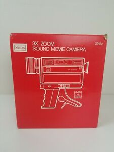 Vintage-Sears-Sound-Movie-Camera-3x-Zoom-Original-Box-Good-Condition-Video