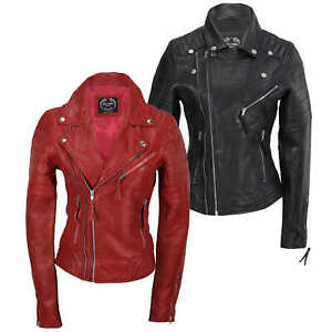 2e2c11ae376 Details about Ladies Women Black Red Soft Real Leather Biker Jacket Slim  Fit Size UK 8 to 24
