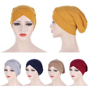 Cotton Women Cross Underscarf Hijab Bonnet Hat Muslim Islam Head Wrap Chemo Caps