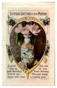Antique-RPPC-real-photograph-postcard-card-Birthday-Greetings-Dear-Mother-vase