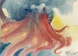 ACEO-original-painting-Octopus-Ocean-Art-Sea-Listed-By-Artist-Artettina-USA