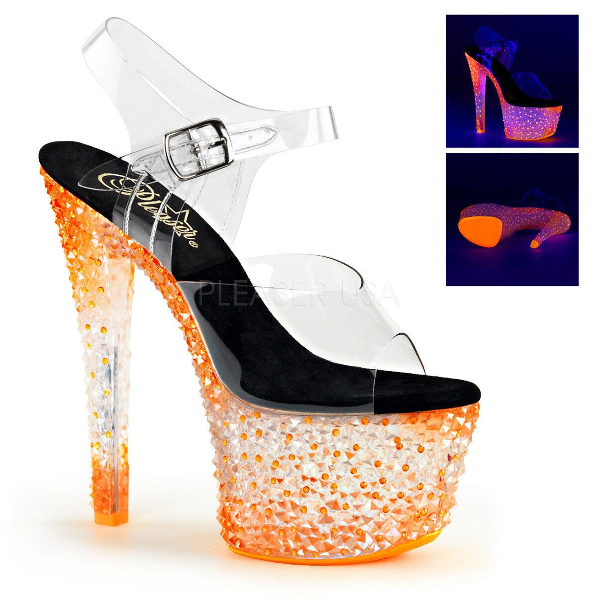 promozioni di squadra Pleaser CRYSTALIZE-308PS donna Clear Neon Tangerine Platform Ankle Strap Strap Strap Sandal  prezzi equi