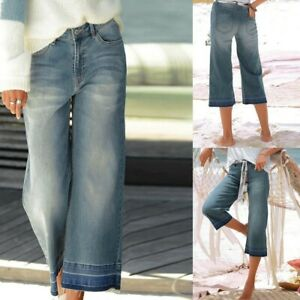 Women-Casual-Solid-Loose-Wide-Leg-Jeans-Workout-Low-Waist-Softener-Cropped-Pants