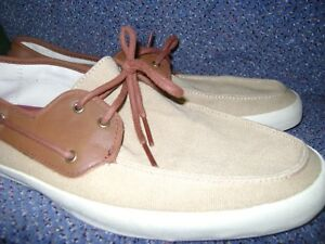 Details about VANS Boat SHOE Canvas Tan AND BROWN LEATHER shoes sz 12 Boat Shoe
