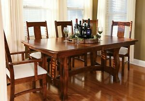 Details about 7-Pc Set Amish Transitional Trestle Dining Table Chairs Solid  Wood Reno