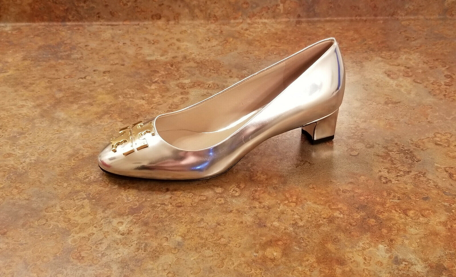 New  Tory Burch 'Raleigh' Metallic Silver 40MM Pumps Womens Size 6.5 M MSRP  295
