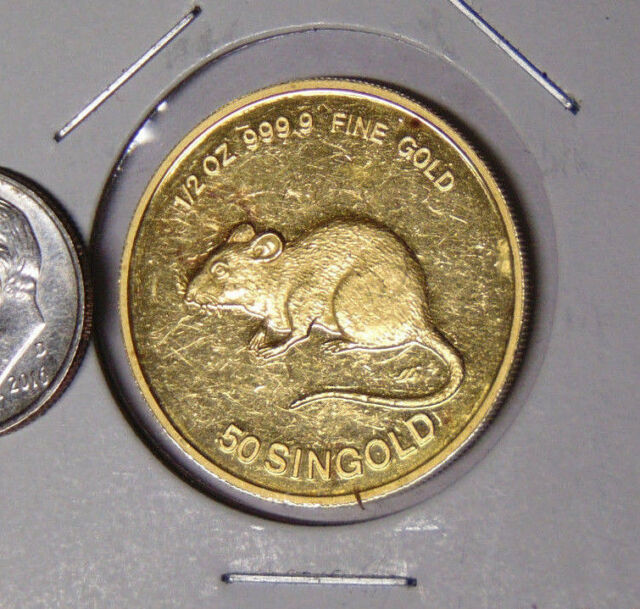 1984 Singapore 50 Singold 1/2 oz 999.9 Fine Gold Year of The Rat