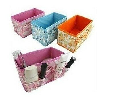Make up Cosmetics Storage Box Container Organizer Fold-able Multi Color Pink
