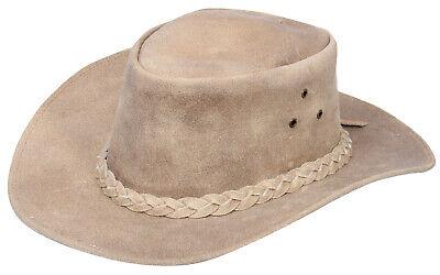 Infinity Leather Sombrero Australiano de Estilo Unisex Vaquero Outback Camello Cuero de Ante Bush