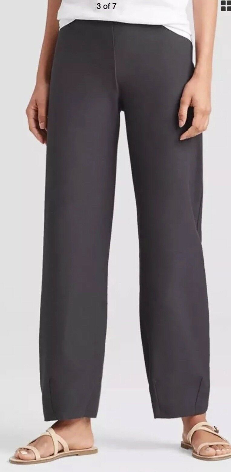 MEDIUM NWT EILEEN FISHER GRAPHITE WASHABLE STRETCH CREPE LANTERN ANKLE PANTS