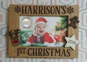 Hand-made-personalised-First-christmas-baby-photo-frame