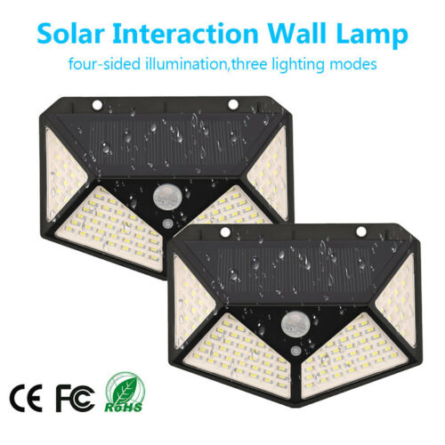 100 LEDS Solar Powered Wall Lamp Motion Sensor Waterproof Security Light USA