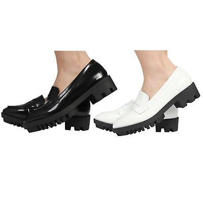 NEW WOMENS LADIES SLIP ON BROGUE CHUNKY MID HEEL LOAFER SHOES SIZE 3-8