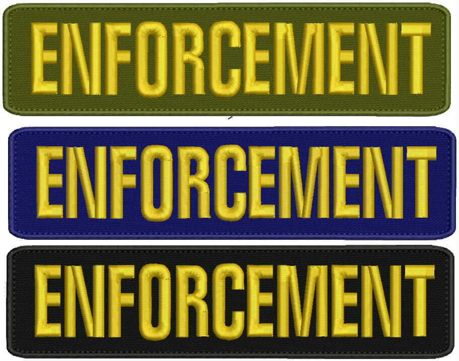 security embroidery patches 5x11 and 3x6   hook on back gold  letters