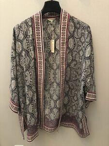 MAX-STUDIO-Paisley-Open-Front-3-4-Sleeve-Kimono-Black-Ivory-Small-NWT-MSRP-88