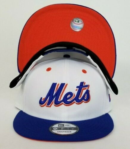 New Era White Royal Blue Scrip New York Mets Snapback Hat Cap