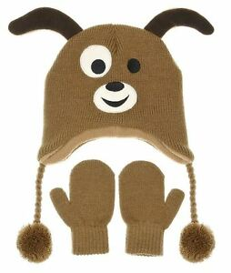 Cozy Nuzzles Hat and Mittens Set with Dog Design Small Size 2-5 Years 36010