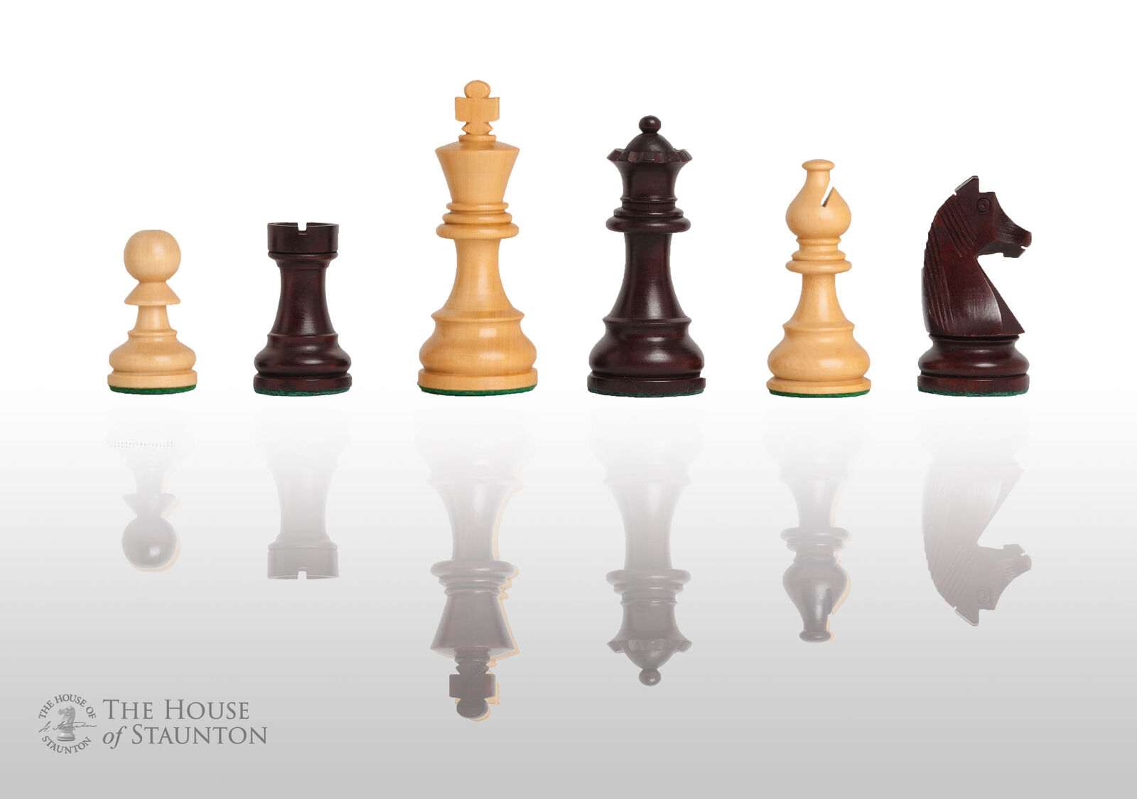 The Championship Chess Set - Pieces Only - 3.75  King - pinkwood Gilded