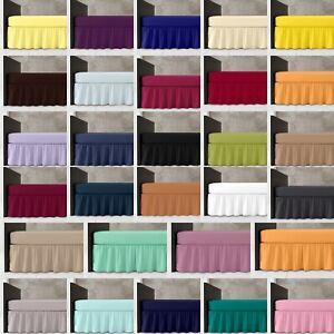 Easy Care Plain Dyed Valance Bed Sheet Percale Single Double King 28 Colours
