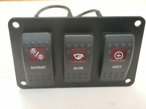 SWITCH PANEL BLACK NAV/ANC BILGE ACCY PSC31 VJD1G66B V1D1 G66B 2 RED CARLING