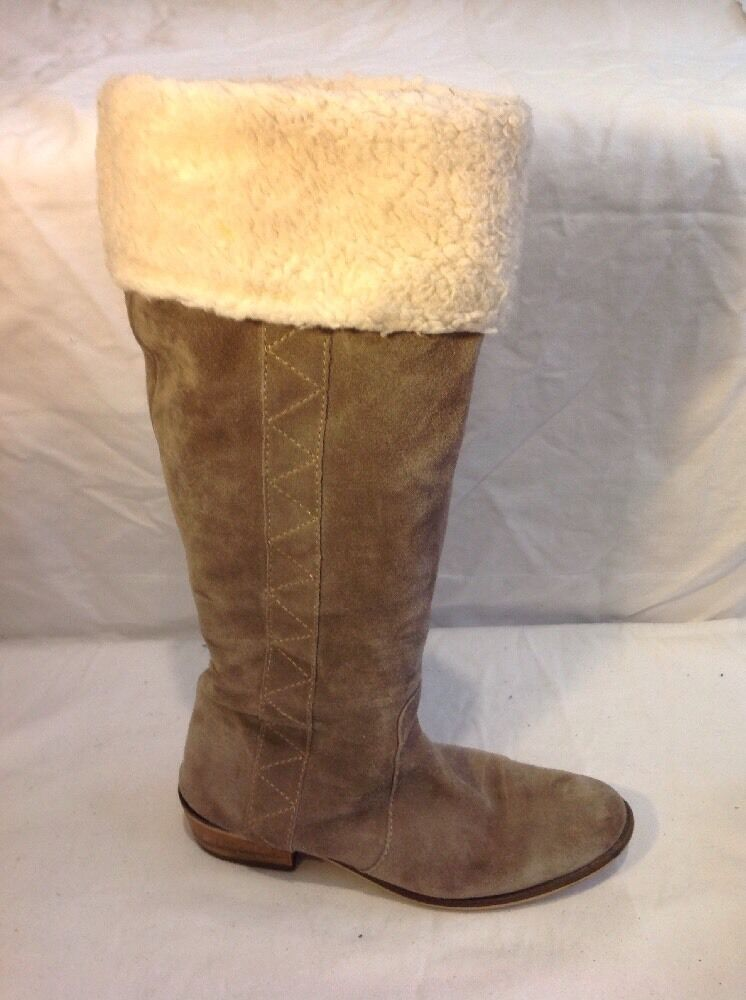 Ladies Brown Knee High Suede Boots Size 38