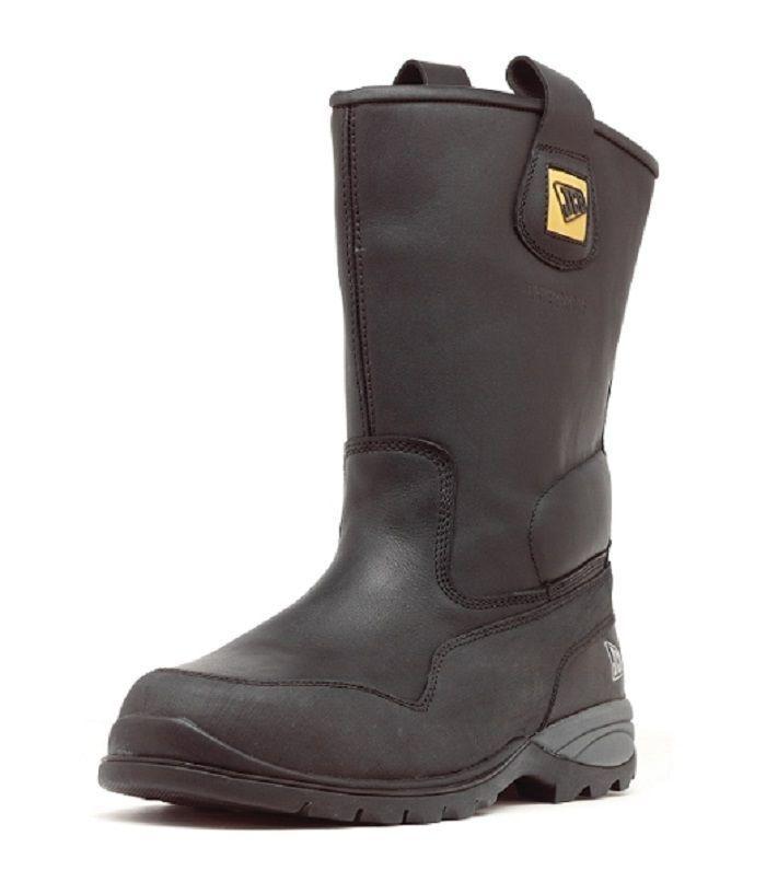 Para Hombre jcb Master Alta Negro de cuero impermeable Drive Puntera De Acero botas De Seguridad