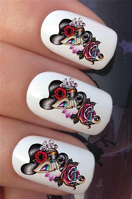 WATER NAIL TRANSFERS DAY OF THE DEAD LADY SUGAR SKULL TATTOO DECALS STICKER *647