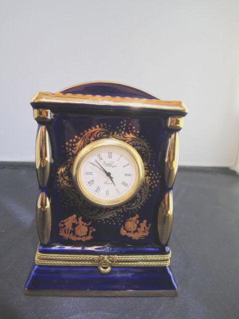 Limoges Porcelain Cobalt Blue trimmed in 22K gold Clock and a box