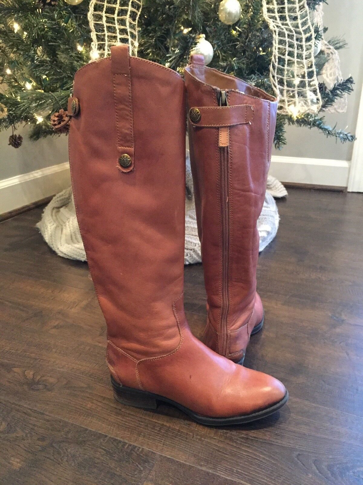 """Women's Sam Sam Sam Edelman """"Penny"""" Whisky Brown Leather Knee High Riding Boots Size 5 f8b7d6"""