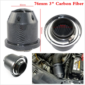Air Intake Filter Box 76mm 3inch Universal Cold Air Intake Induction Kit Carbon Fiber Induction Ram Filter Box Cold Air Intake System W//Intake Hose