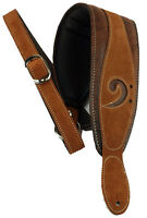 Lm Products X-clef 3.5 Worn Brown Suede-leather Padded Bass Strap W/bass Clef