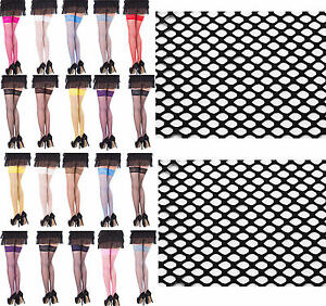 Sexy-Fishnet-Hold-Up-Stockings-With-Lace-Top-15-Various-Colours-Sizes-S-M-L-XL
