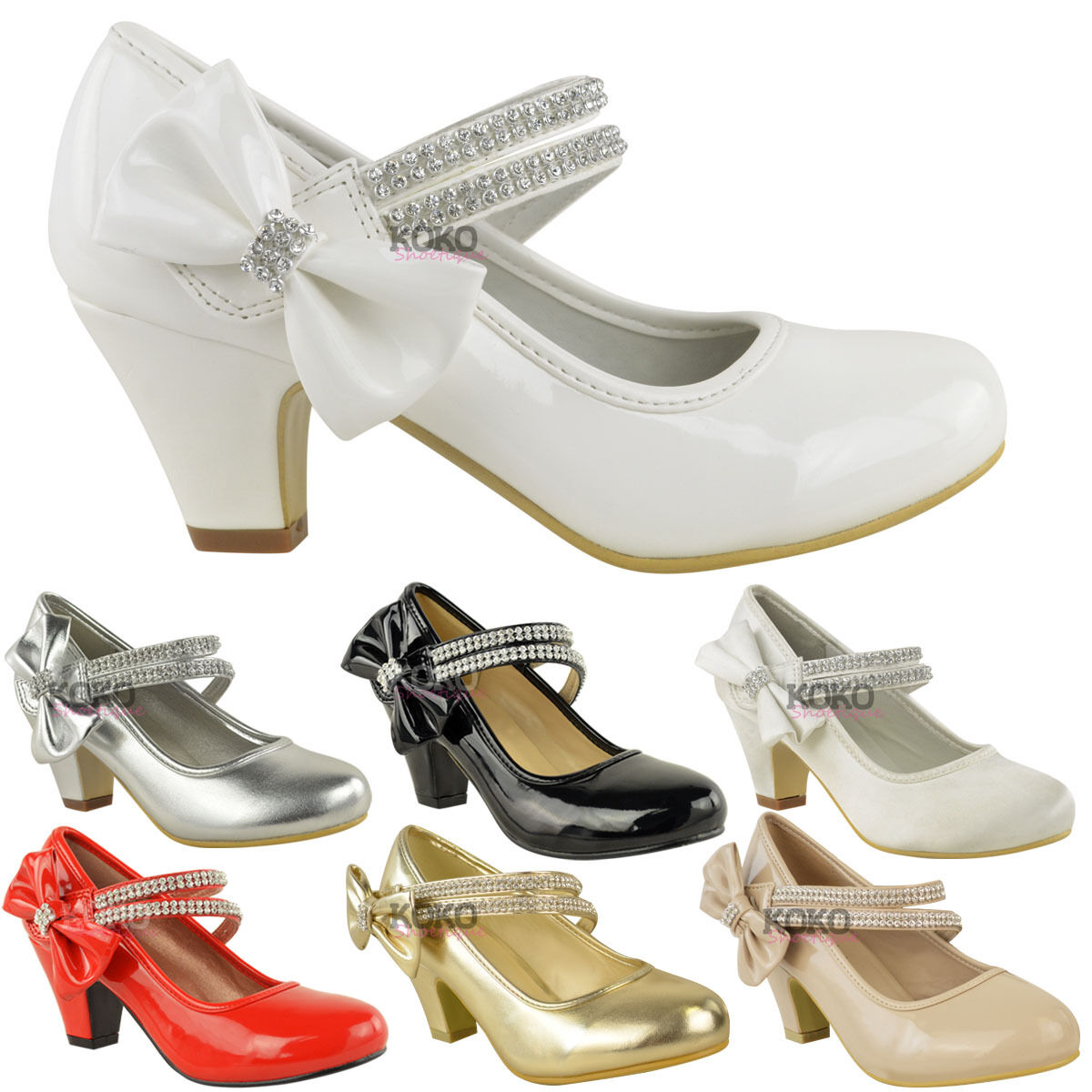 KIDS CHILDRENS GIRLS WEDDING PARTY DIAMANTE BOW LOW MID HEEL SHOES SANDALS SIZE