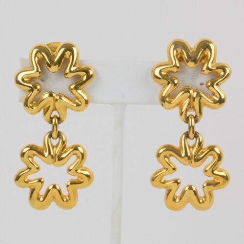 Vintage Lanvin Dangle Clip Earrings Gilt Metal Fl… - image 1