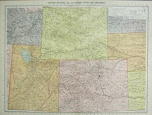 Details about 1934 LARGE MAP ~ UNITED STATES ~ COLORADO UTAH & WYOMING
