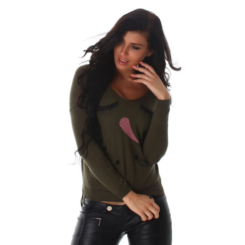 Pull Femmes Sweater shirt Tricot Pull Tunique top manches longues neige femme 36//38