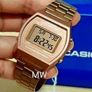 dfd4a3eb2b27 New Casio Vintage Rose Gold Digital Stainless Steel Watch B640WC .