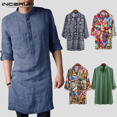 Men/'s Indian Ethnic Long Sleeve Kaftan Formal Party Kurta Dress Collarless Tops