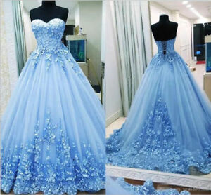 Blue Quinceanera Dress Sweet 16 Prom Gown Formal Party Applique Evening Dress