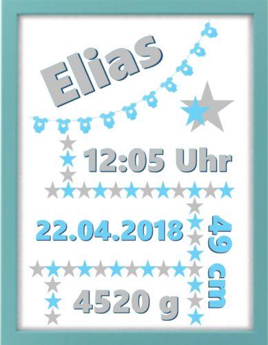 blau Baby Bilderrahmen personalisiert Geschenk Wimpel Geburt