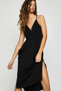 BCBG-NEW-Women-s-Faux-Wrap-Midi-Dress-SZ-XS-Black