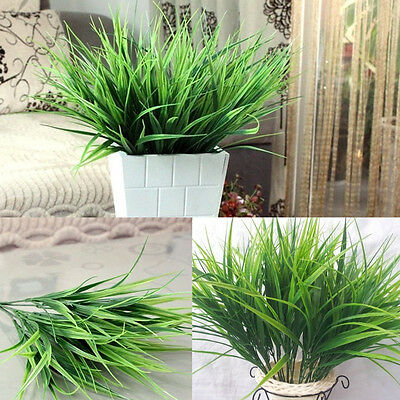 Artificial Fake Plastic Green Grass Plant Flowers Home Office Garden Decoration