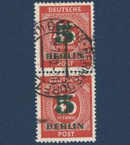 1949 BERLIN 5 GREEN OVERPRINT STAMPS PAIR WITH HERMSDORF POSTMARK, SCOTT #9N64
