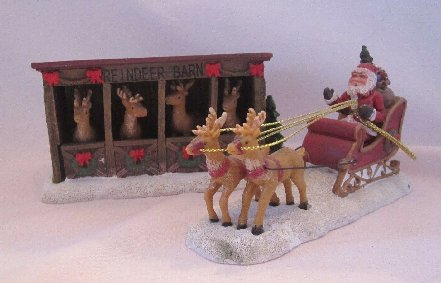 St. Nicholas Square Village Accessories Set of 2 Reindeer Barn & and Sleigh New
