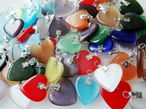 20Pcs Lots Silver Plated Hook Mix Color Heart Cat/'s Eye Stone Bead DIY Choose