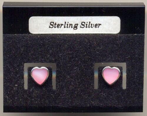 Corazón Rosa Madre De Perla Plata 925 espárragos pendientes cardado