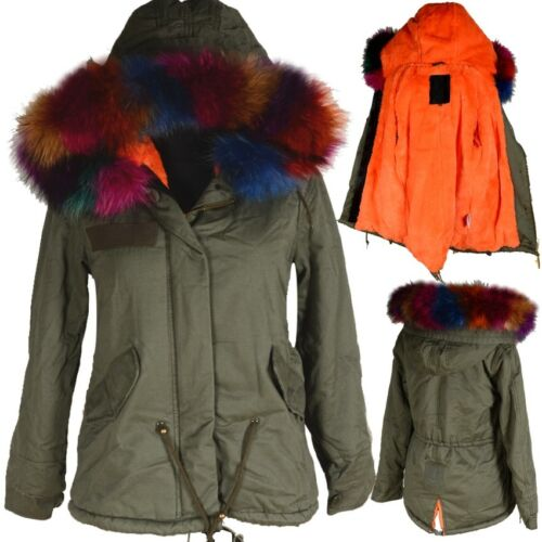 Winter 42 Kurz 44 Parka Warm Mantel Fell L Gefüttert Damen Orange Jacke Xxl Echt vS1tq