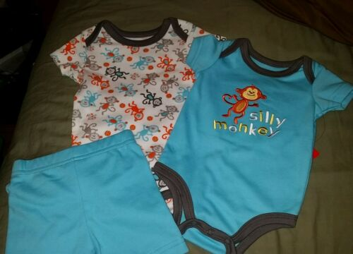 "NWT Boys Infant 3 Piece Outfit KIDGETS /"" Silly Monkey /"" Blue White Gray Orange"